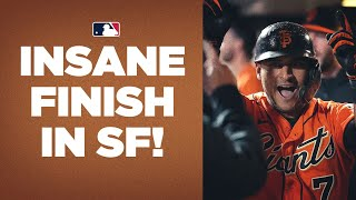 GIANTS PULL OFF INSANE WIN!! Tie it on HR on last out, then win on sac fly from PITCHER!!