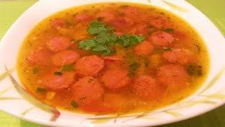 Супчик из охотничьих колбасок с болгарским перцем, томатом и чесночком