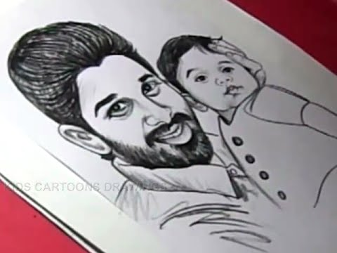 How To Draw Actor Allu Arjun And Her Son Drawing Youtube