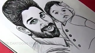 How to Draw Actor ALLU ARJUN and her SON Drawing