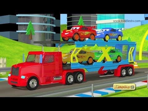Car race and loader truck with teddy bear | kindergarten | preschool | parents | kids | kiddiestv