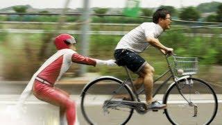 【靴底溶解!!】自転車vs人間!!
