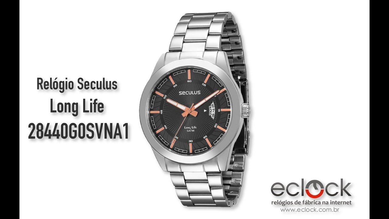 a41824a122c Relógio Seculus Masculino Long Life 28440G0SVNA1 - Eclock - YouTube
