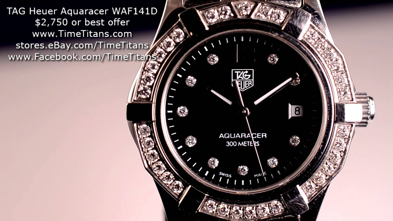 Tag heuer ladies aquaracer waf141d ba0824 diamond bezel black dial 300m youtube for Tag heuer women