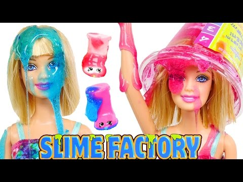 SLIME Barbie and Shopkins Factory --- Glitter Ooze on Barbie Dolls Experiment