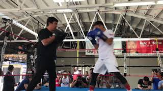 Jerwin Ancajas punches mitts before Jonas Sultan fight