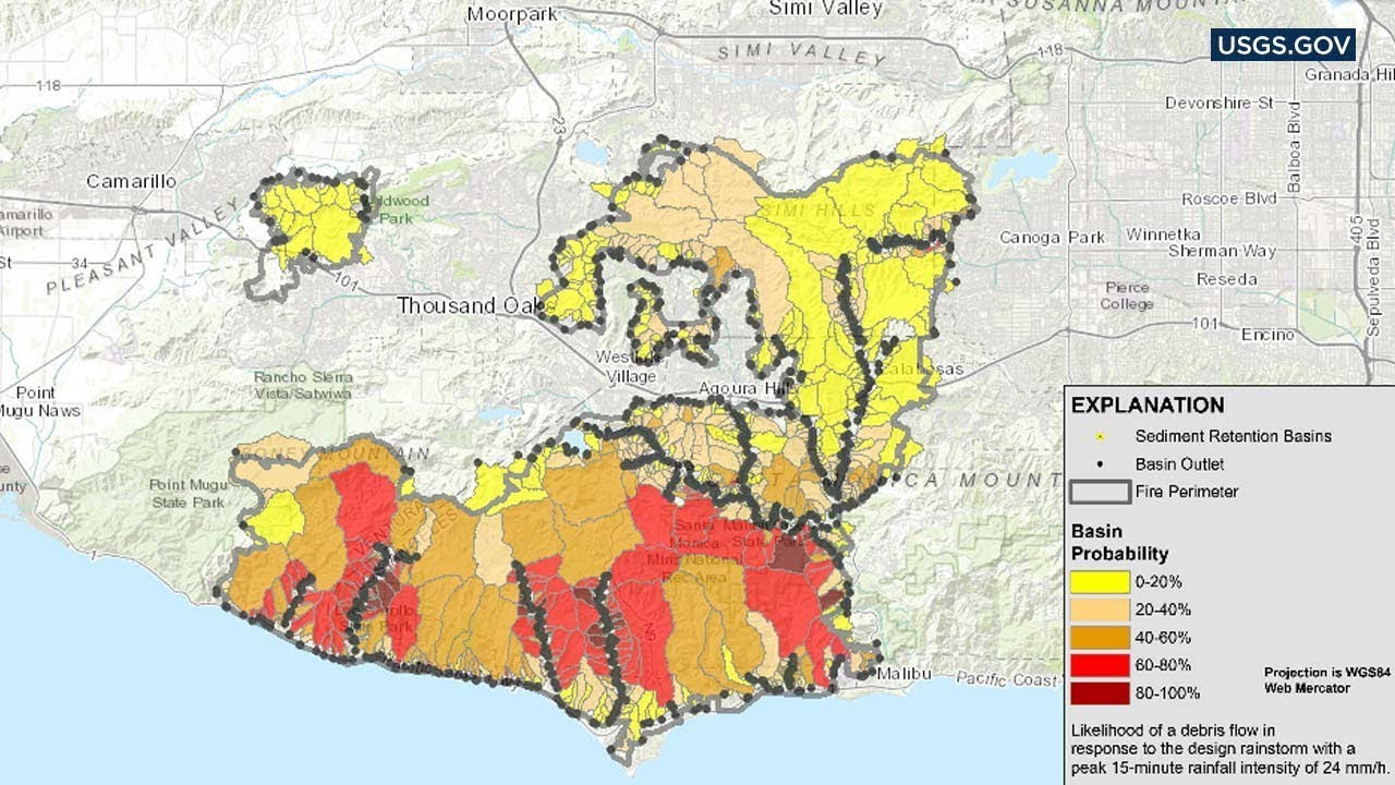 Abc7 Traffic Map.Map Depicts Mudslide Risk In Woolsey Fire Area Abc7 Youtube
