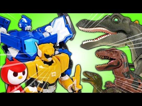 최강전사 미니특공대 출동 공룡을 물리치고 타요 마을을 지켜라 (Miniforce Robot and Tayo Toys. VS Dinosaurs. Animation) - 두두팝토이