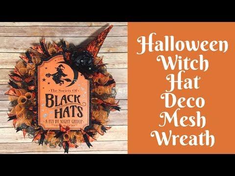 Dollar Tree Halloween Crafts: Witch Hat Wreath