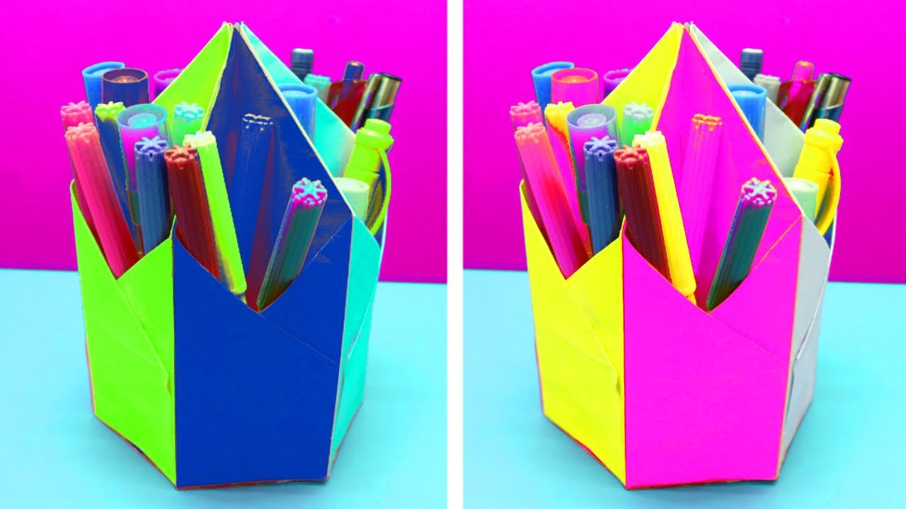 Paper Pen Holder How To Make A Origami Pencil Holder Craft Ideas
