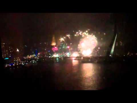 firework show Rotterdam erasmus brug 2012 (recorded from the 18th floor of the monte video hotel)
