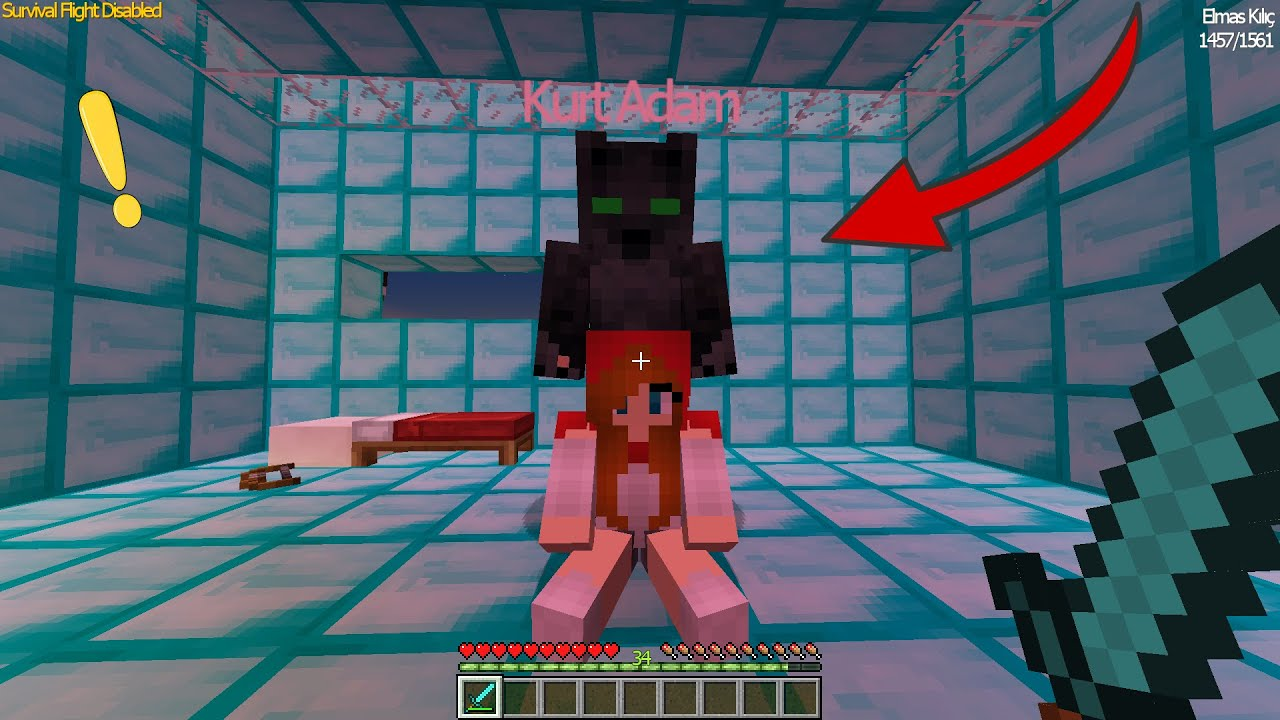 EFE KIRMIZI BAŞLIKLI KIZI KURT ADAMDAN KURTARDI -Minecraft