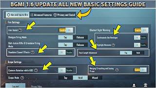 BGMI 1.6 UPDATE NEW BASIC SETTINGS GUIDE | PUBG MOBILE 1.6 BASIC SETTINGS GUIDE IN HINDI