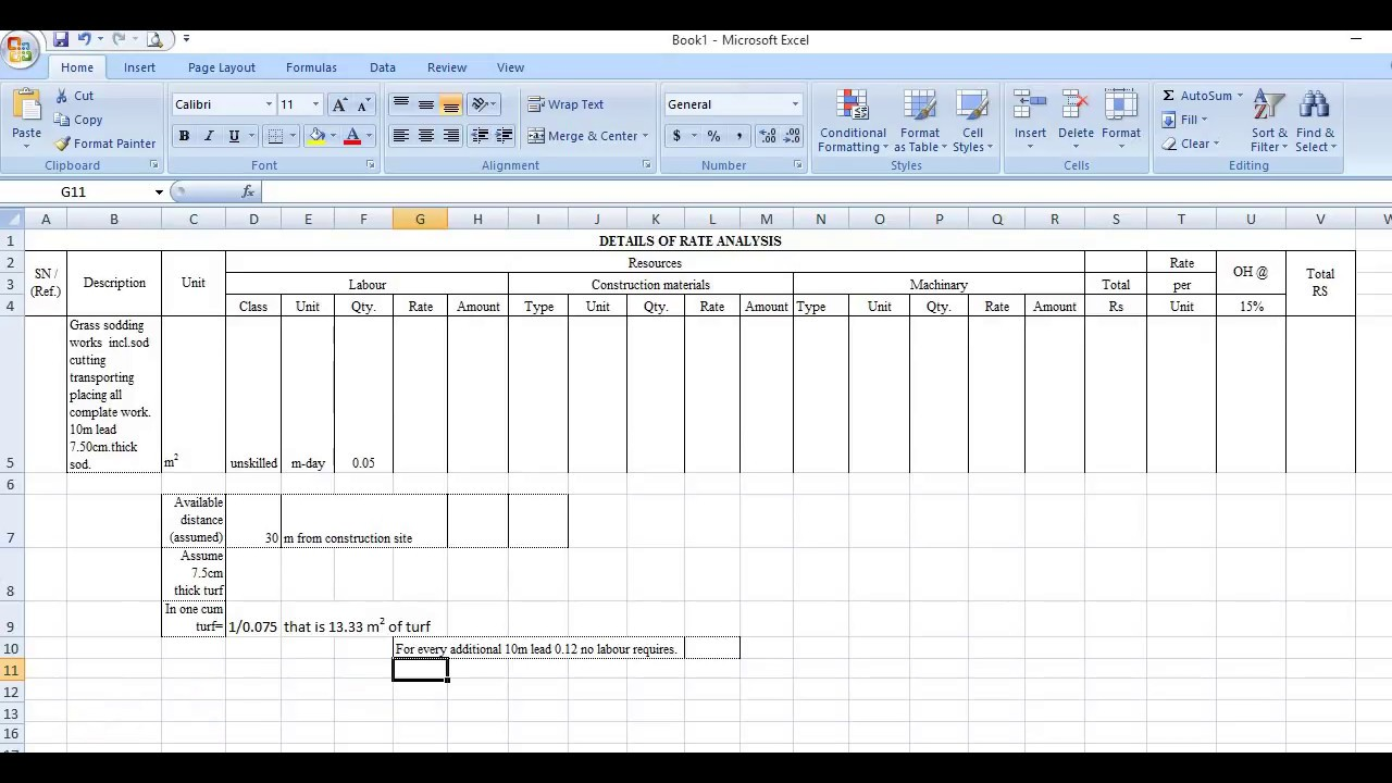 rate analysis for grass turfing works !! Real method - [ With full  Description]