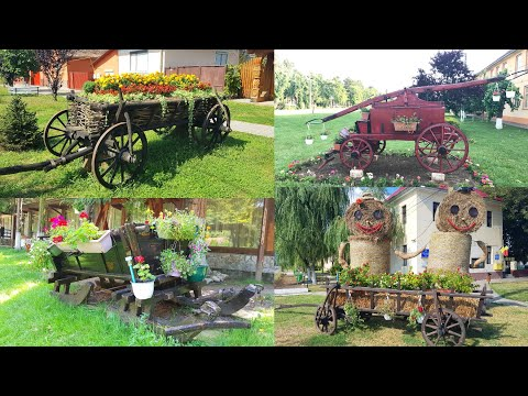 10 Cart with Flowers and Hay Statues Creative Desing Ideas 2021