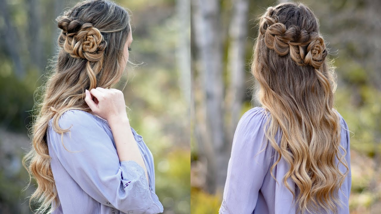 Lace Pull Thru Braid Rosette Bun Cute Girls Hairstyles