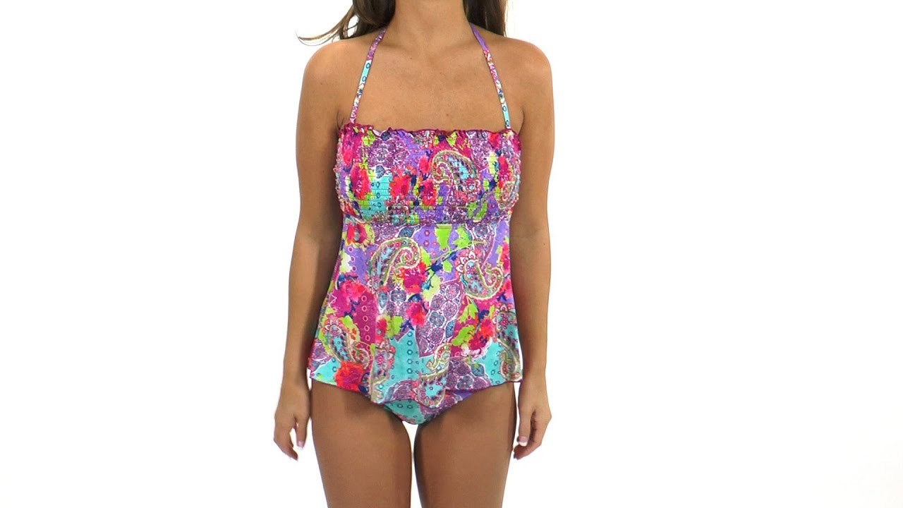 3447f78aac Kenneth Cole Modern Gypsy Smocked Tankini Top | SwimOutlet.com - YouTube