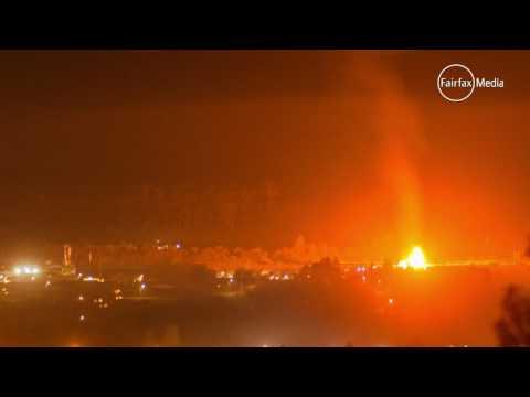 Timber yard fire at Mowbray, Tasmania