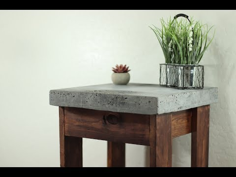 Cheap and Easy $25 DIY Rustic Concrete Top Nightstand
