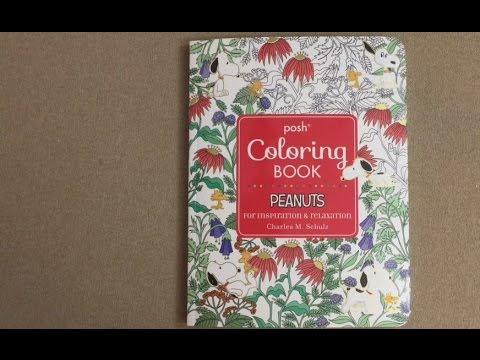 posh adult coloring book peanuts flip through - Peanuts Coloring Book
