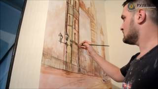Художественная роспись стен - Биг Бен и Тауэрский мост. СК Рулетка - твой лучший ремонт.(, 2016-08-30T15:28:36.000Z)