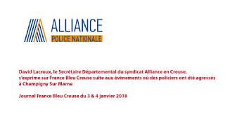 David Lacroux au journal France Bleu Creuse du 3 & 4 janvier 2018