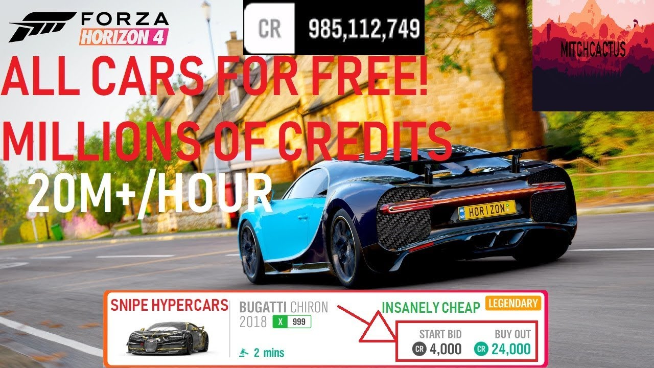 FORZA HORIZON 4 ALL CARS FREE & INFINITE CREDITS AUCTION HOUSE | 10M+ PER  HOUR INSANE GLITCH