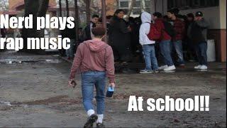 WHITE NERD PLAYS RAP MUSIC ON SPEAKER AT SCHOOL