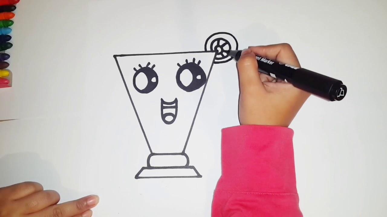 تعليم الرسم للأطفال بطريقة سهلة كيف أرسم كوب عصير برتقال كيوووتhow