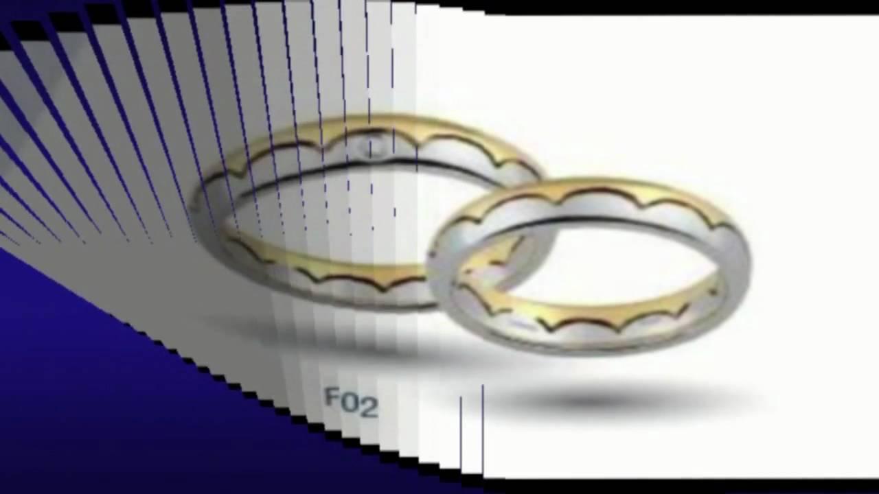 Fedi nuziali Oro bianco giallo diamanti - YouTube