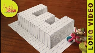 How To Draw 3d Raising letter E - 3D Illusion - Very Easy 3D Trick Art paper - LONG VIDEO -