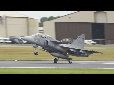 Saab JAS-39D Gripen Trainer Swedish Air Force departure at RIAT 2016 AirShow