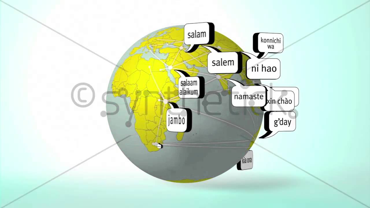 Hello In Many Different Languages Around Earth Globe Loops From - Languages on earth