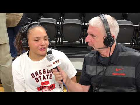 Oregon State Beavers - Slocum and McWilliams react to Beaver WBB 89-33 win over Lions