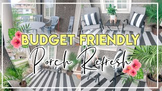 FRONT PORCH MAKEOVER ON A BUDGET | FARMHOUSE PORCH DECOR | PORCH REFRESH