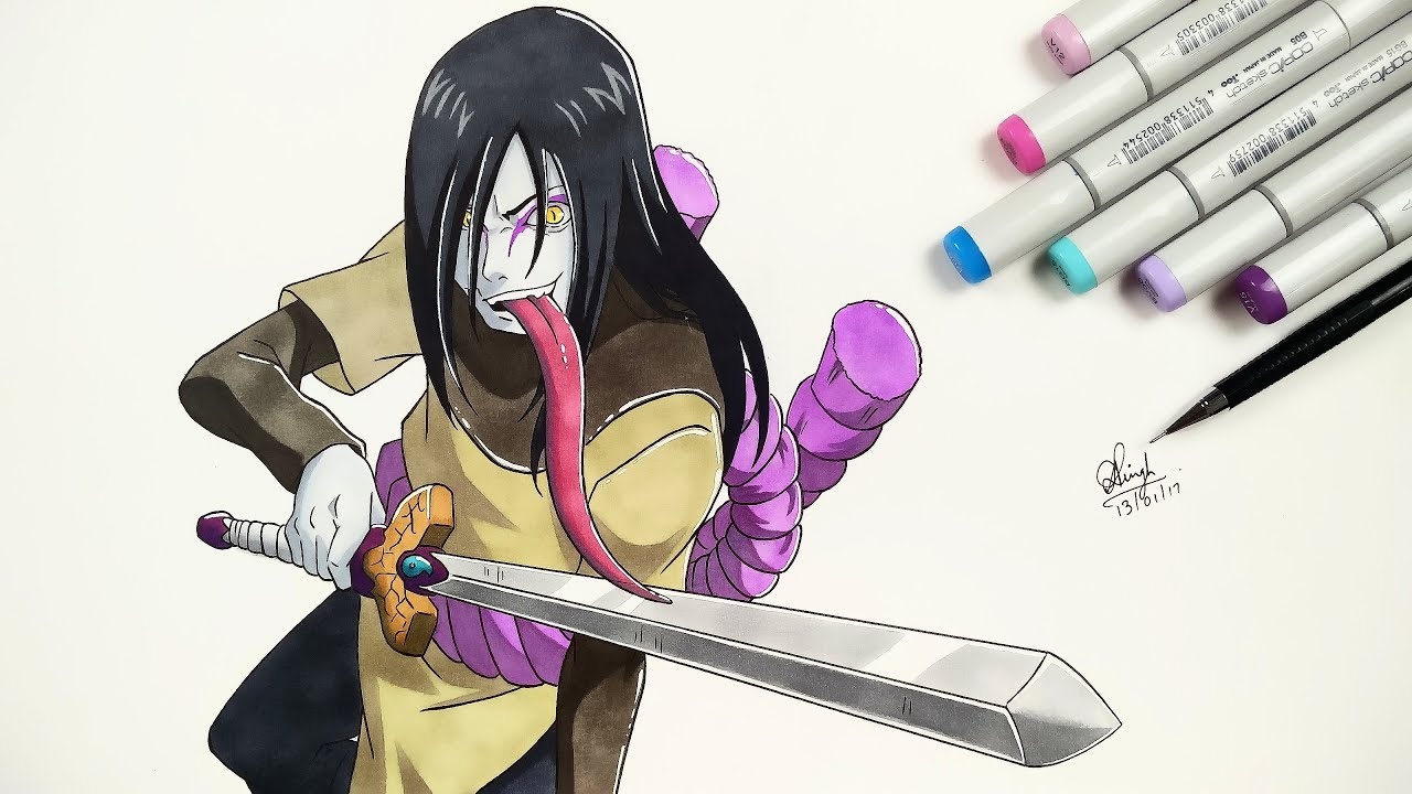 How To Draw Orochimaru - Step By Step (Tutorial) - Naruto ...