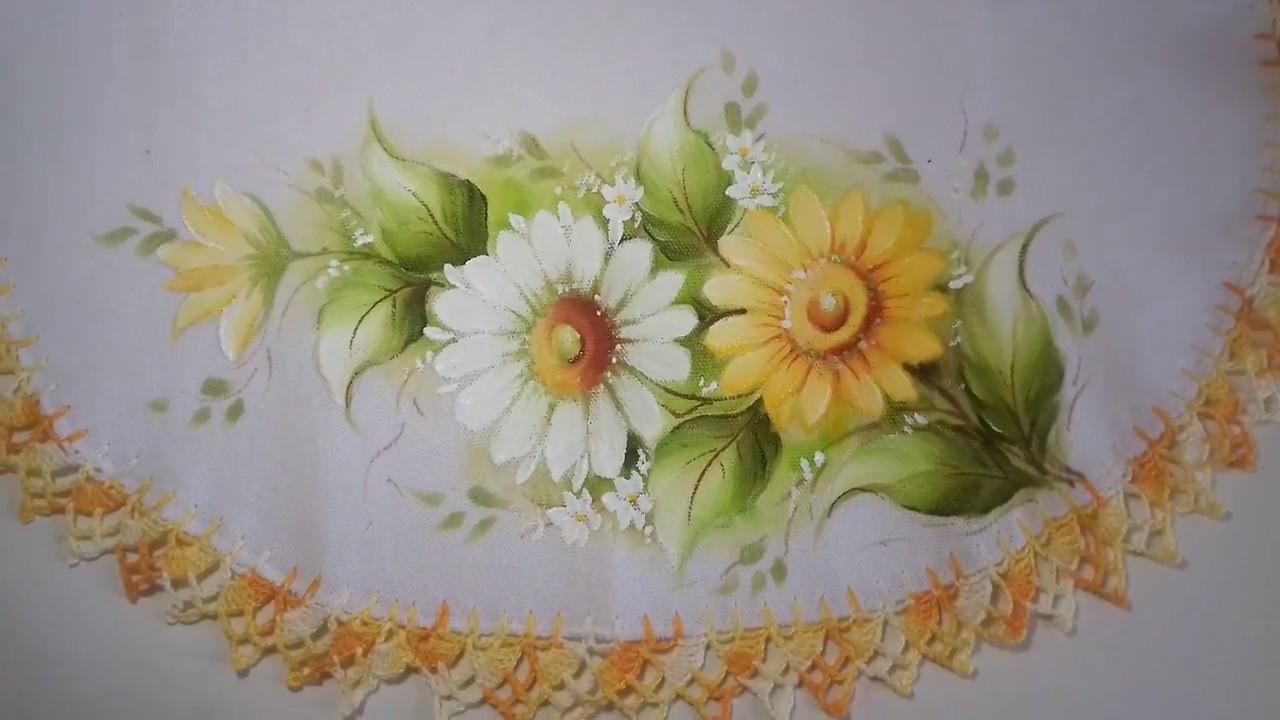 Pintura Em Tecido Aprenda Pintar Margaridas Folhas E Acabamento