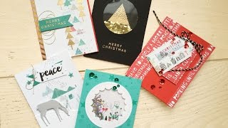 5 Holiday cards using the SImon Says Stamp December Card Kit
