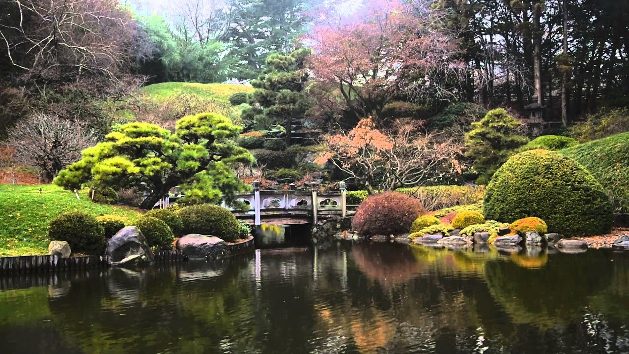 Light snow at the japanese hill and pond garden youtube for Garden and pond
