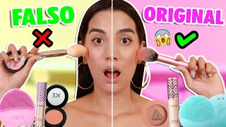 PROBANDO MAQUILLAJE FALSO! REAL VS FAKE ¿SON IGUALES? #2 😰 | Claudipia