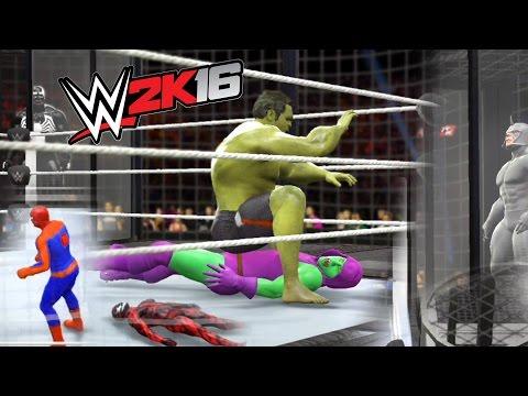 WWE 2K16 - HULK VS SPIDERMAN VS VENOM VS CARNAGE VS GREEN GOBLIN VS RHINO