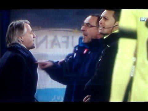 Napoli Inter 0 2 - Mancini a muso duro con Sarri dopo il gol Ljajić
