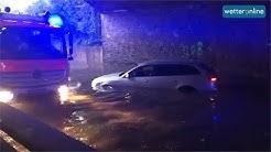 Unwetter setzen Straßen und Keller unter Wasser