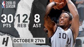 DeMar DeRozan Full Highlights Spurs vs Lakers 2018.10.27 - 30 Pts, 8 Ast, 12 Reb, CLUTCH!