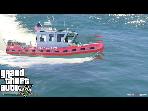 GTA 5 Rescue Mod Day 27 | United States Coast Guard Defender Boat | USCG Rescue