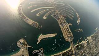 Skydive Dubai. Wingsuit flying above skyscrapers and Palm Jumeirah.