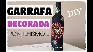 GARRAFA DECORADA PONTILHISMO COM TEXTURA