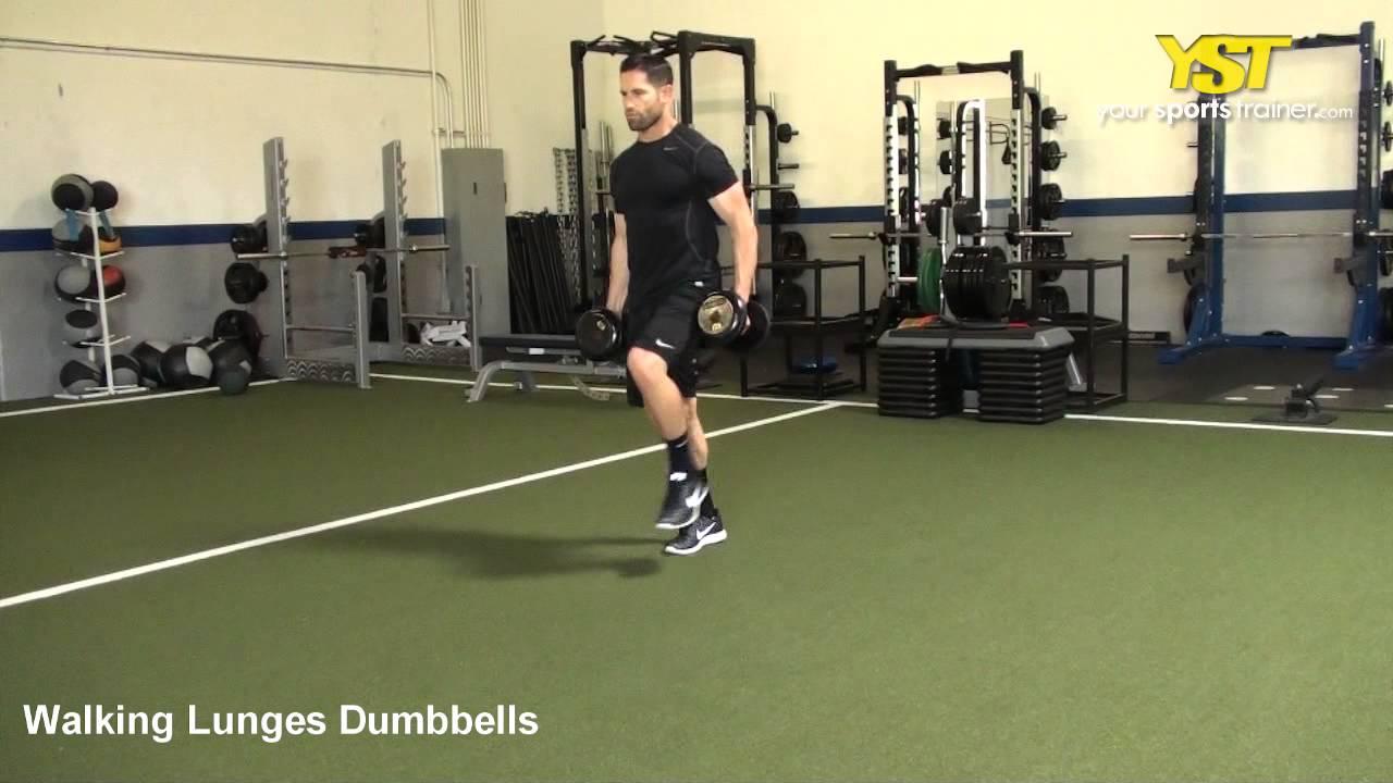 Walking Lunges Dumbbells - YouTube