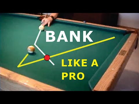 Pool and billiards bank shot drill for learning cut-angle ef