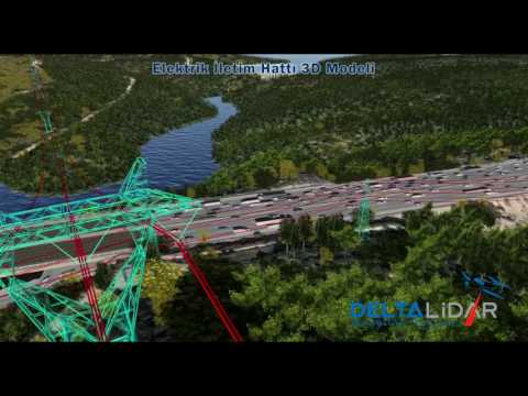 Hava Lidar Sistemi ile üretilmiş Elektrik İletim Hatları - Powerlines from Airborne Lidar System
